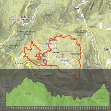 Difficoltà: Impegnativo | Durata: 3,28 ore | Lunghezza: 23,6 km | Altitudine massima: 1367 m | Dislivello in salita: 739 m | Dislivello di discesa: 717 m | Lunghezza per E-Bike: Breve | Percorso ad anello